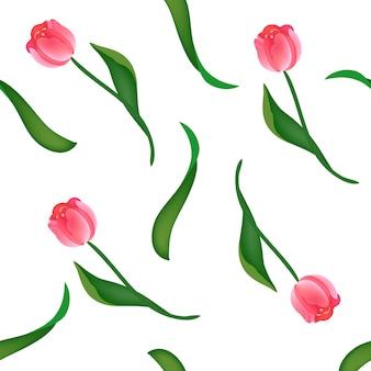Sem costura padrão floral com tulipas