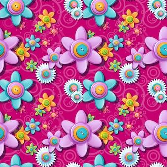Sem costura padrão floral de botões