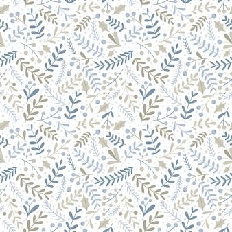 Sem costura padrão floral de natal com frutas e galhos. estilo simples, paleta pastel desenhada à mão. ótimo para tecido, papel de embrulho, etc.
