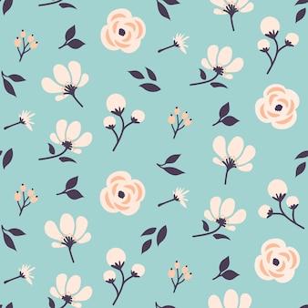 Sem costura padrão floral design com flores fofos