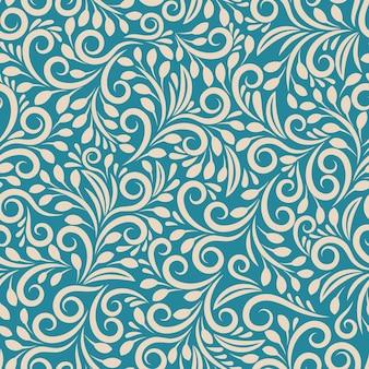 Sem costura padrão floral em fundo uniforme. ornamento darkcyan, arte em tecido de design, contorno da moda