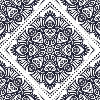 Sem costura padrão floral étnica asiática