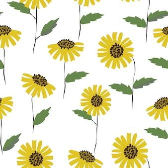 Sem costura padrão floral fresco fofo