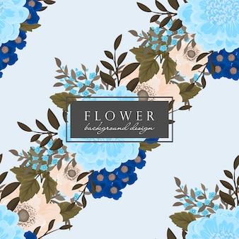 Sem costura padrão floral fundo azul
