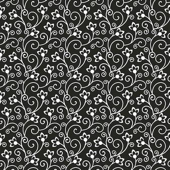 Sem costura padrão floral preto e branco