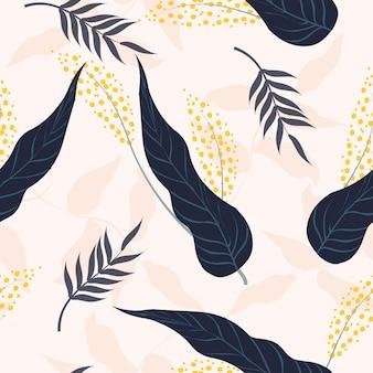 Sem costura padrão floral tropical fresco