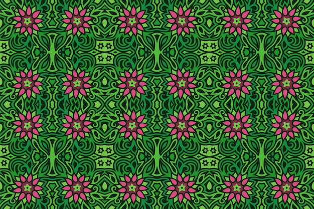 Sem costura padrão floral verde com flores cor de rosa