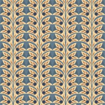 Sem costura padrão geométrico abstrato floral natural em fundo azul escuro estilo estampado de arte popular