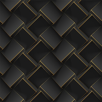Sem costura padrão geométrico com cubos 3d pretos realistas. modelo para papéis de parede, têxteis, tecido, cartaz, folheto, planos de fundo ou publicidade. textura com efeito de extrusão.