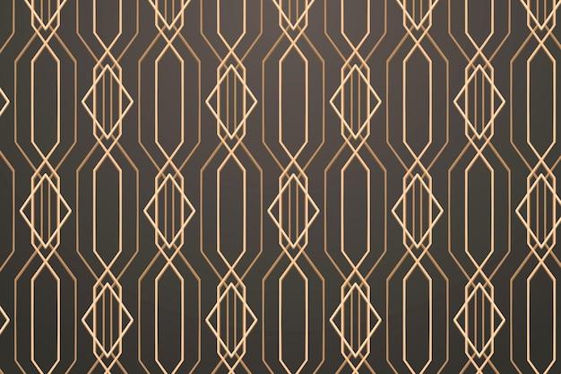 Sem costura padrão geométrico dourado em um fundo cinza