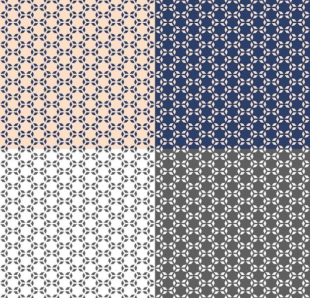 Sem costura padrão geométrico em estilo árabe com polígono, estrela. vectore repetindo textura para papel de parede, embalagem, convite, impressão de tecido. fundo bege, azul e monocromático. inversão de cores.