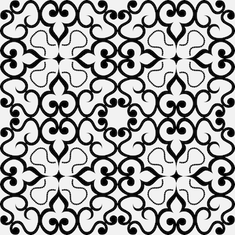 Sem costura padrão geométrico preto e branco de motivos orientais