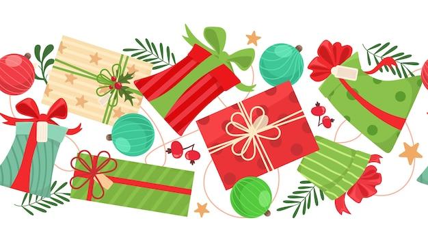 Sem costura padrão horizontal com bolas de natal, caixas de presente e elementos.
