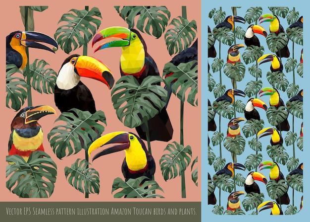 Sem costura padrão ilustração mão desenhada arte de misturar pássaros tucanos coloridos.