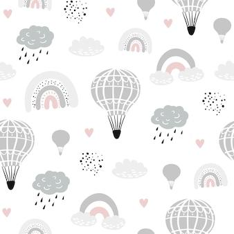 Sem costura padrão infantil com balões de mão desenhada