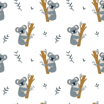 Sem costura padrão infantil com coala fofo.