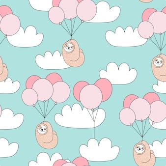 Sem costura padrão infantil com giro preguiça com balões.