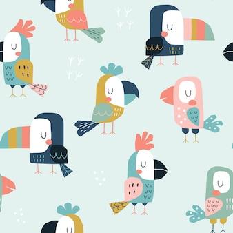 Sem costura padrão infantil com giros papagaios e tucanos.