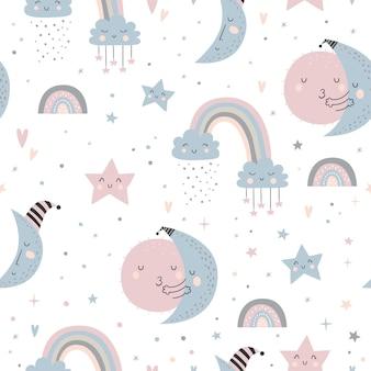 Sem costura padrão infantil com luas, nuvens, arco-íris e céu estrelado.
