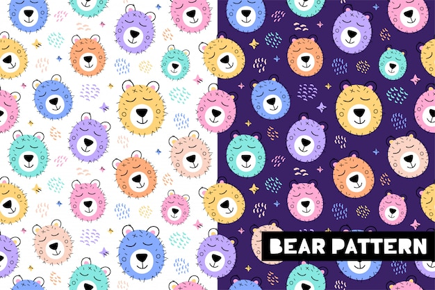 Sem costura padrão infantil com rostos de animais urso engraçado