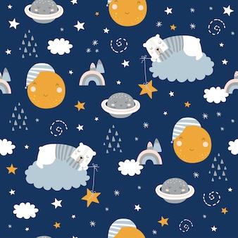 Sem costura padrão infantil com ursos adormecidos, nuvens, arco-íris, lua, planeta e estrelas.