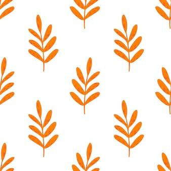Sem costura padrão isolado com elementos de ramos laranja brilhante. fundo branco.