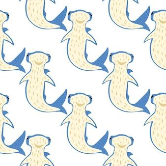 Sem costura padrão isolado com tubarões-martelo dos desenhos animados.