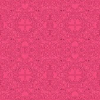 Sem costura padrão linear rosa com formas de corações