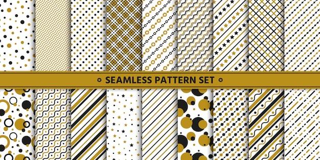 Sem costura padrão linha círculo estrela conjunto, embrulho de papel, ouro branco preto.