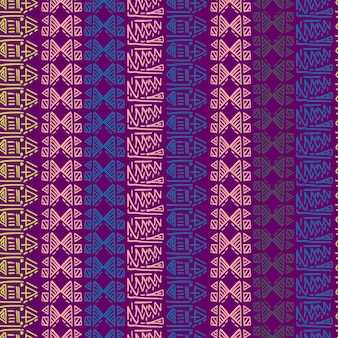 Sem costura padrão listrado com motivos tribais batik fundo colorido