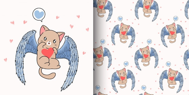 Sem costura padrão mão desenhada kawaii cupido gato está segurando coração no dia dos namorados