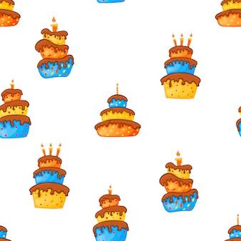 Sem costura padrão multicolorido de aniversário com bolos em um fundo branco. estilo de desenho animado. vetor.