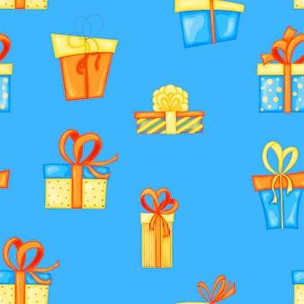 Sem costura padrão multicolorido de aniversário com caixas de presente em um fundo branco. estilo de desenho animado. vetor.