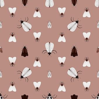 Sem costura padrão natural insetos insetos insetos fundo marrom desenho à mão design para têxteis
