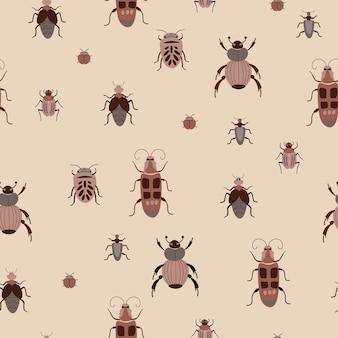 Sem costura padrão natural insetos insetos insetos fundo marrom desenho à mão design para textil