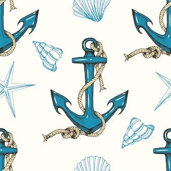 Sem costura padrão náutico com âncoras de mão desenhada e conchas