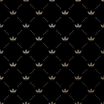 Sem costura padrão ouro com coroas de rei