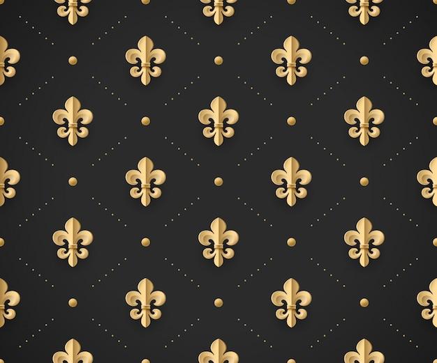 Sem costura padrão ouro com flor de lis em um fundo preto escuro. ilustração vetorial
