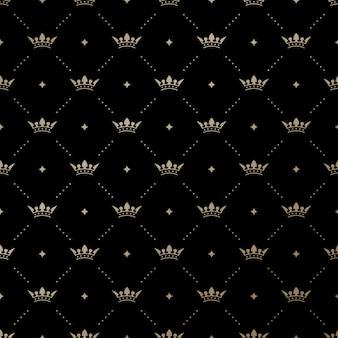 Sem costura padrão ouro com rei coroas