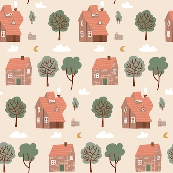 Sem costura padrão pastel colorido com casas e árvores verdes. padrão de casa doodle para tecido infantil, têxteis, papel de parede de berçário. ilustração vetorial plana de aldeia repetida com diferentes edifícios pequenos