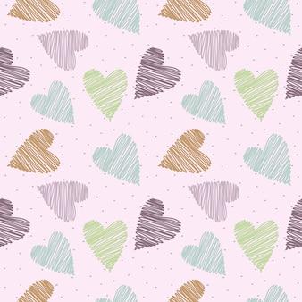 Sem costura padrão pastel mão desenhada coração no fundo rosa