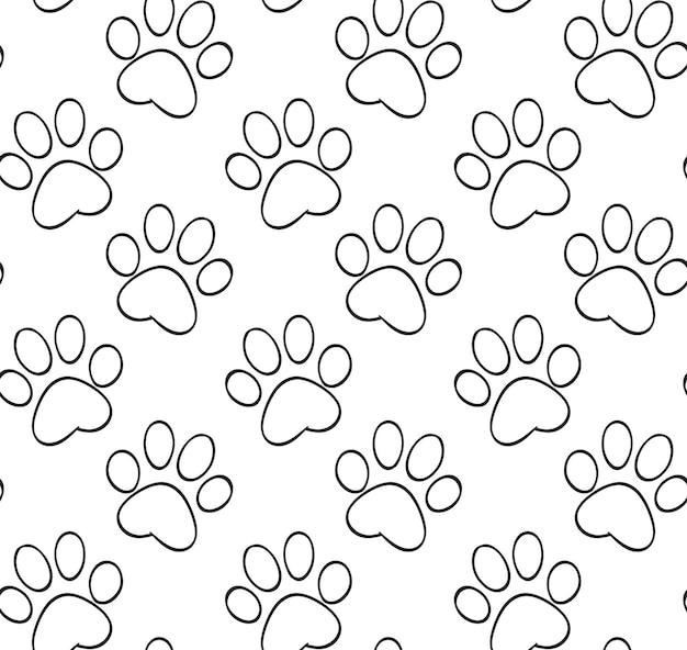 Sem costura padrão preto e branco com os contornos das patas do gato