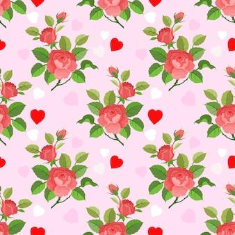 Sem costura padrão romântico com rosas e formas de coração.
