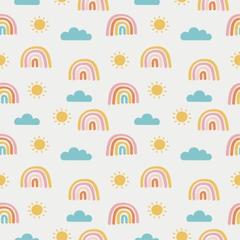 Sem costura padrão sol, arco-íris e nuvens. papel de parede kawaii em fundo branco. cores pastel fofas do bebê.