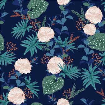 Sem costura padrão tropical artística bonita com floresta exótica. florescendo flores, folhas e folhagem rosa