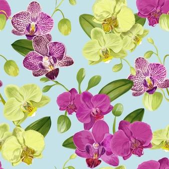 Sem costura padrão tropical com flores da orquídea.