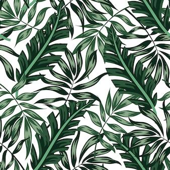 Sem costura padrão tropical com plantas verdes e folhas