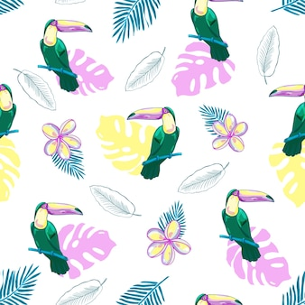 Sem costura padrão tropical com tucanos, flores e folhas de palmeira. fundo.