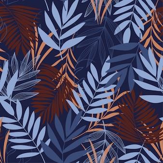 Sem costura padrão tropical em cores claras com folhas e plantas