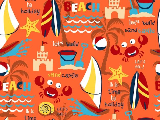 Sem costura padrão vector de conjunto de tema de férias de praia
